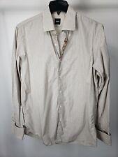 BOSS HUGO BOSS Brown Beige Pinstripe Cotton French Cuff Button Down Shirt sz L