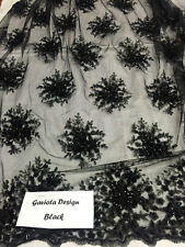 Beaded Fabric - Flower Mesh Dress Black Sequins Lace Bridal Veil By The Yard