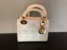 Christian Dior Lady Dior AUTHENTIC white patent handbag