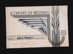 "1933 'CENTURY OF PROGRESS"" CHICAGO WORLDS FAIR JACK FROST SUGAR SOUVENIR BOOKLET"