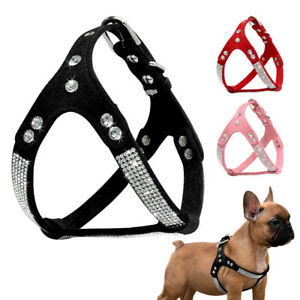 Rhinestone Step-In Dog Harness Soft Suede Walking Vest for Small Medium Dogs S-L