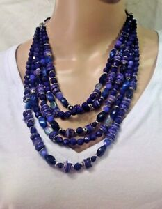 CHICO'S NEW Blue FIVE LAYER Beaded necklace  NWTS