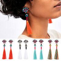 Women Sector Shape Crystal Tassels Long Drop Dangle Earrings Statement Jewelry