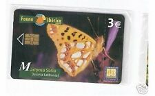 Carta telefonica Spagna   Fauna Iberica Farfalla Mariposa sofia in blister
