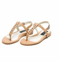 Rag & Bone Sandals 10 US 40 EU Beige Nude Leather T Strap Eli Studded Flat NWOT