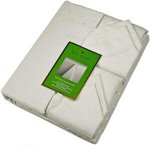 "Kate Spade New York Larabee Dot 9 Pc Tablecloth 60""x102""  8 Napkin Set Gray NEW"