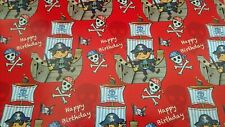 Pirate Happy Birthday Boys Gift Wrapping Paper Sheet - Quality NEW
