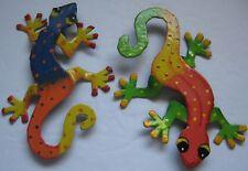 Gecko Fridge Magnet Colorful Pair of Geckos Metal Painted Refrigerator Magnets