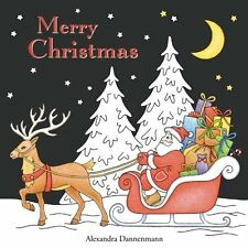 Merry Christmas Adult Colouring Book Black Backgrounds new 9781539344612