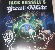 JACK RUSSELL'S GREAT WHITE SIGNED X5 HE SAW IT COMING LP TONY MONTANA