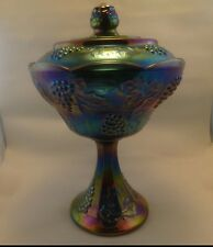 Carnival Glass Blue/purple Iridescent Indiana Glass Harvest Grape Candy Dish