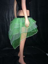 neon uv Green White Bustle Burlesque Sequin tutu Skirt fancy costume dance party
