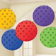 5pk Rainbow Multi Colour Stamped Paper Lantern Birthday Party Decorations