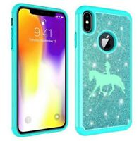 For Apple iPhone Glitter Bling Shockproof Protective Case Cowgirl Riding Horse