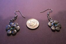Pewter Flower  Earrings With Aurora Crystals