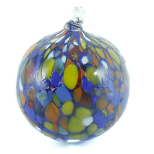 Murano Glass Art Xmas Christmas Decoration Ball Blue Yellow Hand Made Millefiori