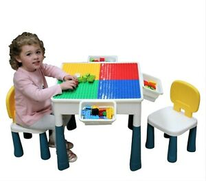 Kids Activity Table Chairs Play & Build Duplo Childrens Table and 2 Chairs