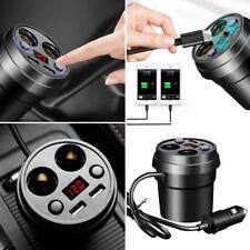 Car Charger Adapter Dual USB Port Fast Charging w/ 2 Cigarette Lighter Socket