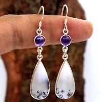 Fashion 925 Silver Wedding Jewelry Gift Opal Amethyst Dangle Drop Earrings