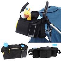 Baby Pram Organizer Bottle Cup Holder Stroller Caddy Storage Universal Buggy