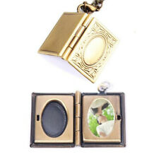 Book Chain Fancy Pendant Bronze Necklace Jewellery Photo Frame Locket