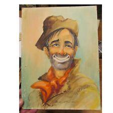 Eulalie Banks (1899-1999) Watercolor Painting Hobo Clown Cowboy