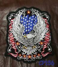 "FLYING EAGLE with US Flag Patch for Biker Vest Jacket Back Patches 10"""