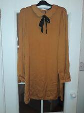 ladies mustard Peter pan collar casual dress size 14