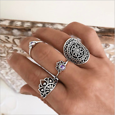 4pcs Women Hollow Carved Knuckle Midi Finger Tip Above Rings Bohemian  JEWEL
