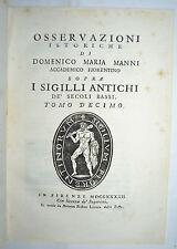 SIGILLI - figur. 1742 - MEDIOEVO - storia - araldica - MANNI - tomo 10