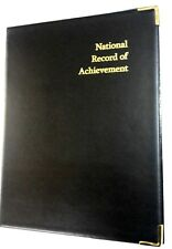 NATIONAL RECORD OF ACHIEVEMENT PVC A4 FOLDER IN BLACK LEATHER LOOK - GOLD PRINT