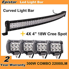 """53"""" 300W Curved LED Light Bar Combo+4X 4'' 18W CREE Spot Offroad Truck Boat Ford"""