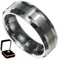 8MM BRUSHED CENTER COMFORT FIT MEN WEDDING TUNGSTEN CARBIDE BAND size 12 w/ BOX