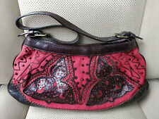 Braccialini Italy Womens Purse Evening Hand Bag Satchel Shoulder Pouch Brown Red