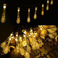 30 LED Solar Powered Water Drop Fairy String Light Lamp Bulb Wedding Party Decor