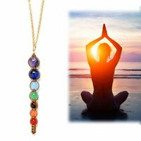 Yoga Pendant Necklace 7 Chakra Beads Jewelry Natural Reiki Healing Gemstone