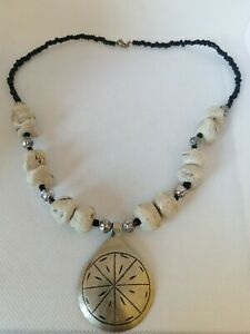 Rare ancient Viking Necklace natural stone authentic Amulet silver color amazing