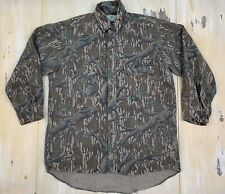 MOSSY OAK - Vtg USA Made Green Tan Camo Thick Flannel Hunting Shirt, Mens LARGE