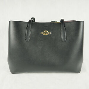 Coach Tote Bag Large Avenue Carryall Double Face Leather Black Oxblood F79988