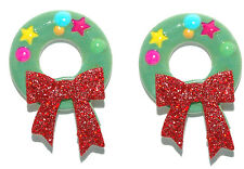 CHRISTMAS WREATH with GLITTERY RED BOW STUD EARRINGS (H296)