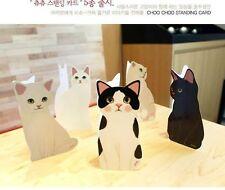 US Lot 5pcs Jetoy Choo Choo Cat standing Greeting Card message Korea Kawaii Cute