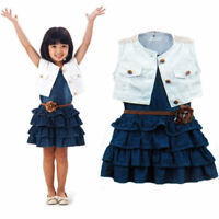 3pcs Toddler Infant Girls Outfits Denim dress+ waistcoat + belt Kids Clothes Set