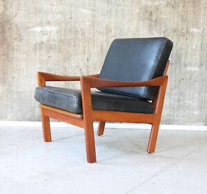 Vintage 60er Illum Wikkelso Ledersessel N. Eilersen MidCentury Easy Chair