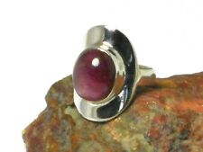 Oval  RUBY   Sterling  Silver  925  Gemstone   RING  -  Size: N