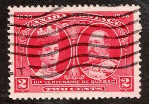 Sc #98 - Canada - 1908 - 2c - Tercentennial - Used - VF - superfleas - cv$6