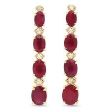 7.30ct Natural Red Ruby and Diamond 14K Solid Yellow Gold Earrings