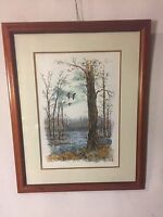 """Vintage Lithograph Woodland Scene.Signed """"Schaffer"""" #29/375. 23""""X29"""". MAKE OFFER"""