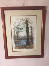 """Lithograph Woodland Scene.Signed """"Schaffer"""" #29/375.23""""X29"""".See9pics. MAKE OFFER"""