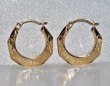 BEAUTIFUL 9 CT YELLOW GOLD DETAILED CREOLE HOOP EARRINGS