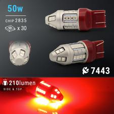 Syneticusa 7443 Red LED Strobe Flashing Blinking Brake Tail Light/Parking Bulbs